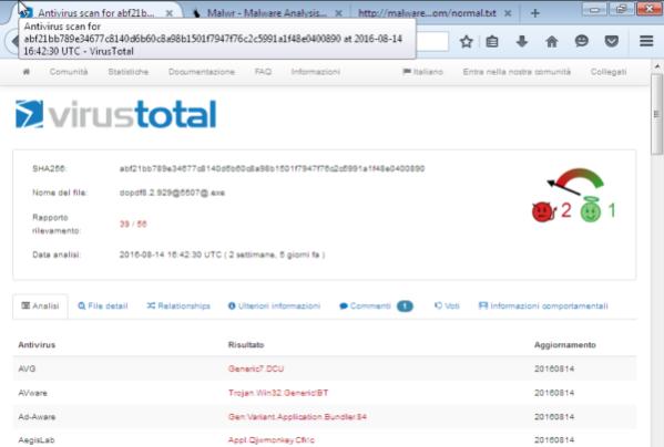 Analisi di VirusTotal, su 56 antivirus, 39 segnalano un possibile Trojan/Adware
