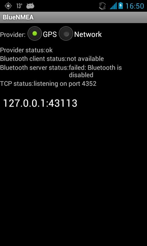 Screenshot dell'applicazione connessa al computer