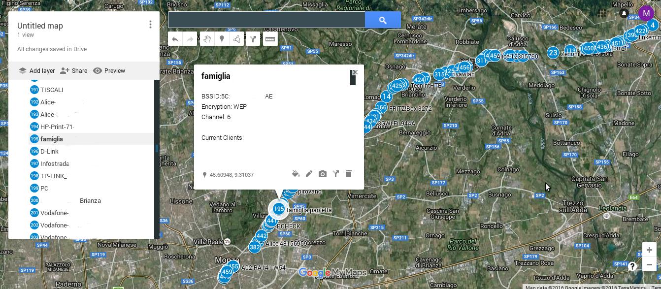 Mappa con gli access point