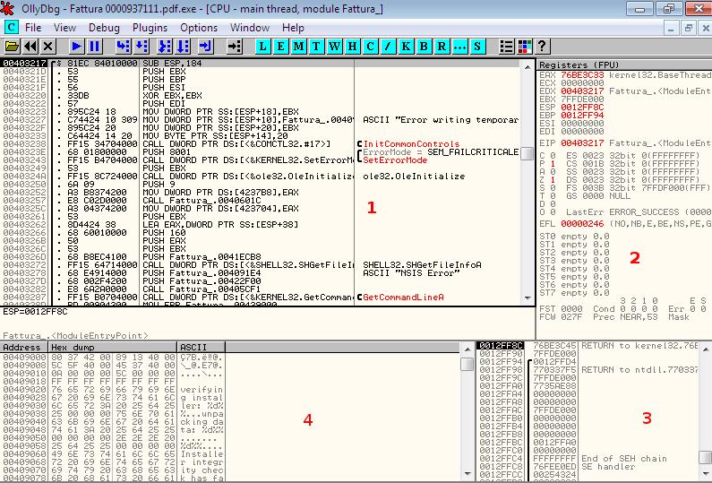 Interfaccia di OllyDbg