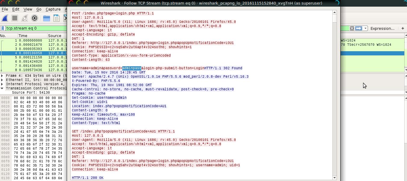 Sottrazione della password con Wireshark