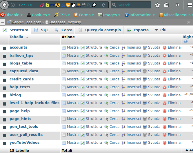 Interfaccia phpmyadmin