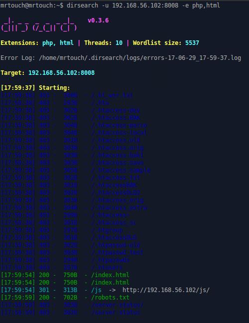 Output di dirsearch