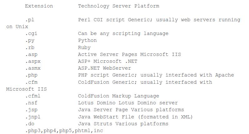 Tipologia di file e probabile tecnologia utilizzata