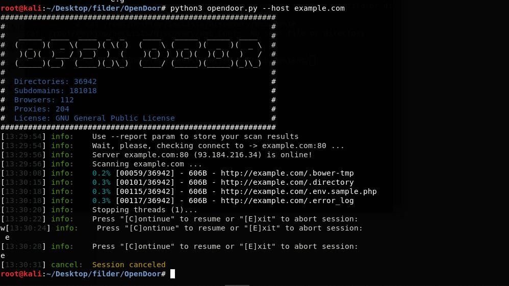 OpenDoor in esecuzione