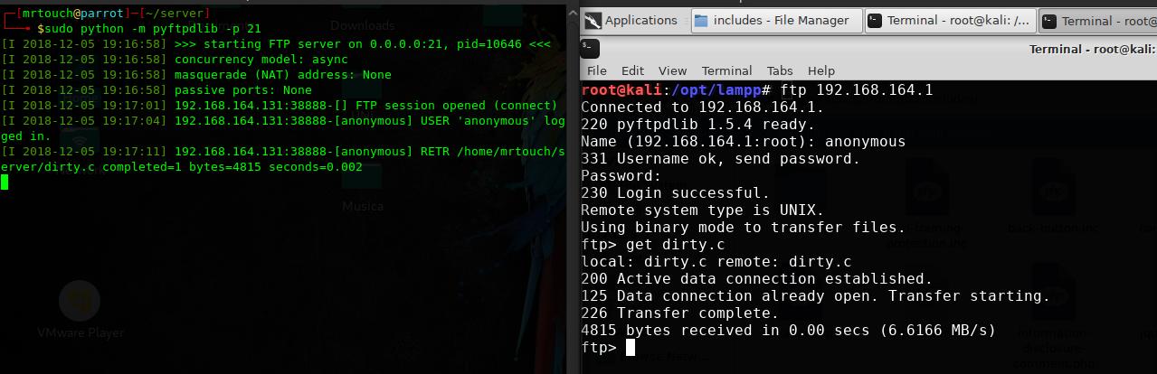 Trasferimento di un file con FTP