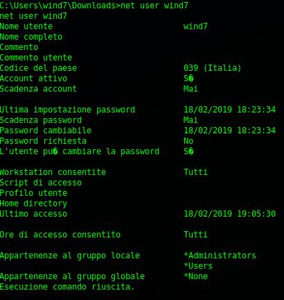 Comando net user