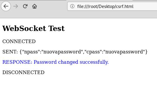 Connessione WebSocket stabilita da un'altra fonte rispetto a quella originale