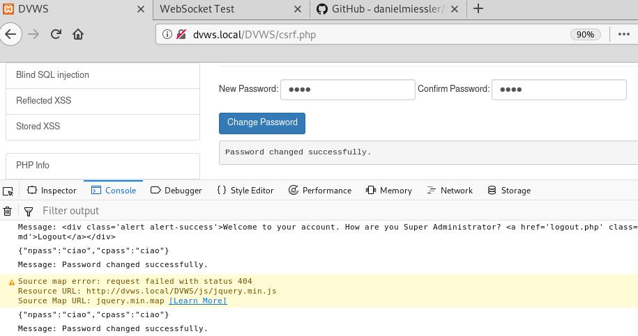 Risposta del server al cambio password