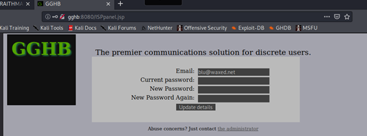 Form di cambio password e mail