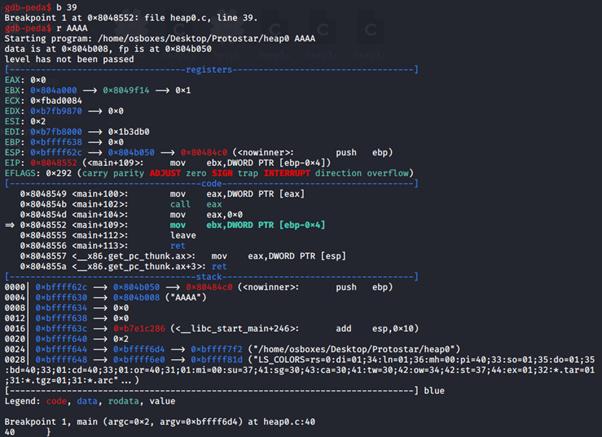 Esecuzione del programma con GDB