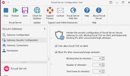 Royal Server Settings installed on the bridge host
