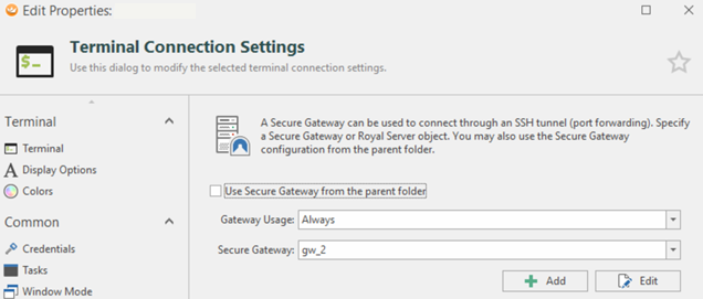 Settings for the usage of the Secure Gateway