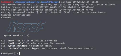 Client SSH di Karaf