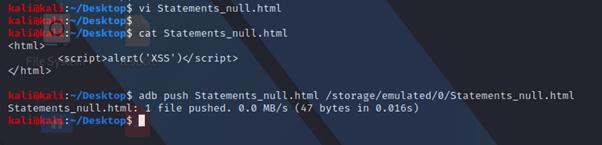 File html creato e copiato sul device