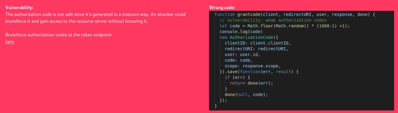 L'authorization code non viene generato in maniera sicura