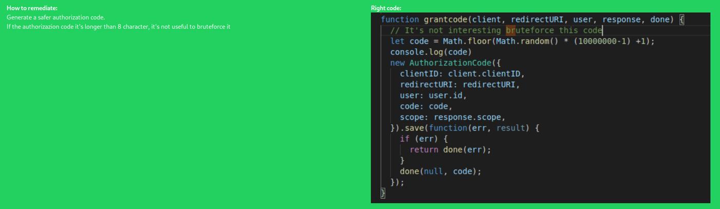 L'authorization code è più lungo di 8 caratteri e quasi impossibile da identificare