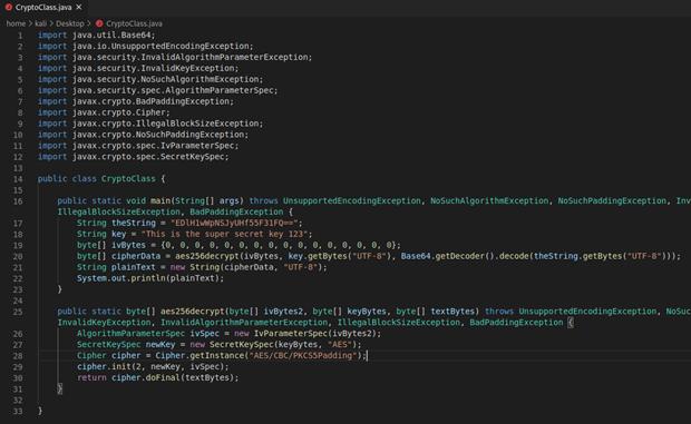 Codice Java utilizzato per decifrare